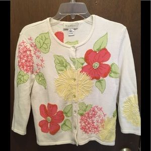 Susan Bristol Floral Cardigan Sweater Size M
